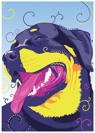 Framed One Hippy Dog - Psychedelic Rottweiler