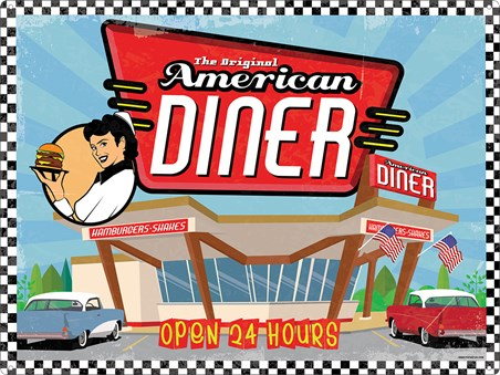 Framed Open 24 Hours - The Orignal American Diner