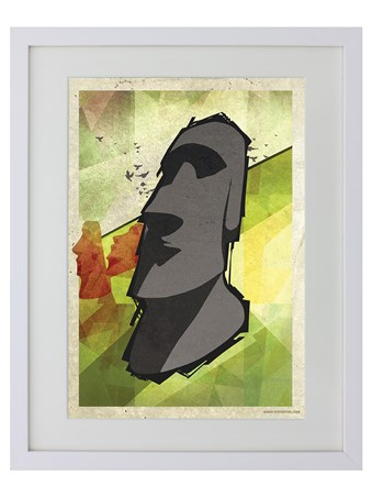 White Wooden Framed Tiki Head - Abstract