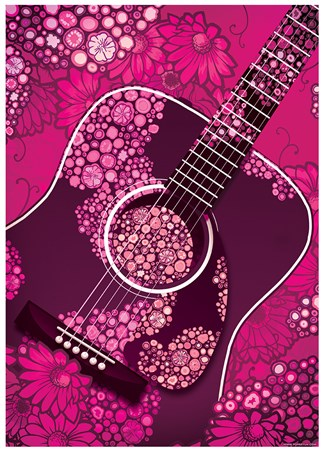 Pink Floral Guitar - Acoustic
