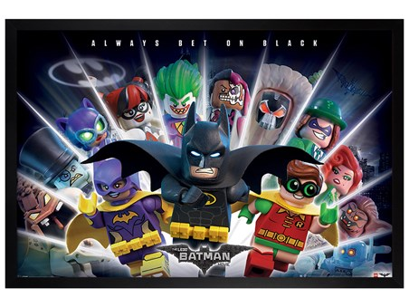 Black Wooden Framed Always Bet On Black - Lego Batman