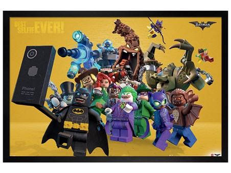 Black Wooden Framed Best Selfie Ever - Lego Batman