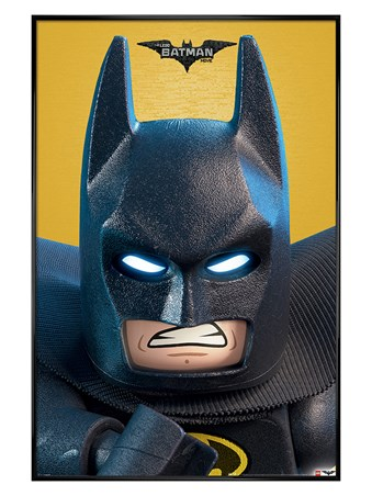 Gloss Black Framed Lego Batman Close Up - Lego Batman