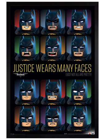 Black Wooden Framed Justice Wears Many Faces - Lego Batman