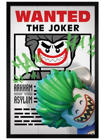 Black Wooden Framed Wanted The Joker - Lego Batman