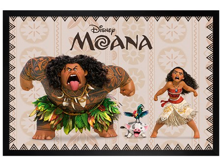Black Wooden Framed Moana and Maui - Moana
