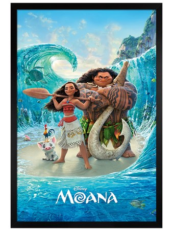 Black Wooden Framed Magical Sea - Moana