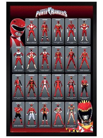Black Wooden Framed Red Ranger Evolution - Power Rangers