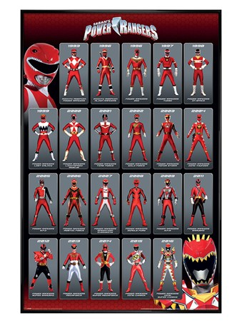 Gloss Black Framed Red Ranger Evolution - Power Rangers