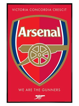 Gloss Black Framed We Are The Gunners Crest - Arsenal FC
