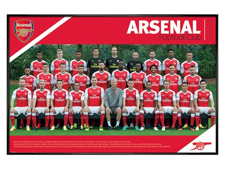 Gloss Black Framed Team Photo 2016/2017 - Arsenal FC
