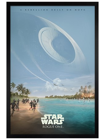 Black Wooden Framed A Rebellion Built On Hope Poster - Star Wars Rogue One