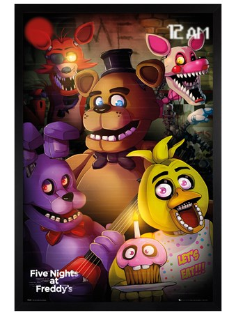 Black Wooden Framed Group Shot - Five Nights At Freddy's