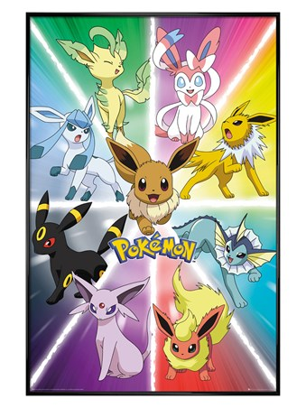 Framed Gloss Black Framed Eevee Evolution - Pokemon