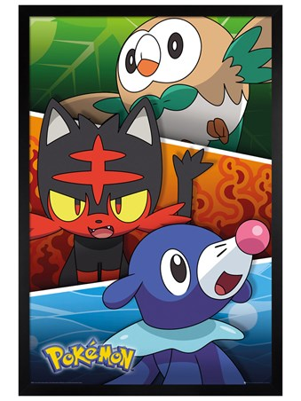 Black Wooden Framed Alola Partners - Pokemon