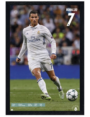 Black Wooden Framed Real Madrid Number 7 - Cristiano Ronaldo