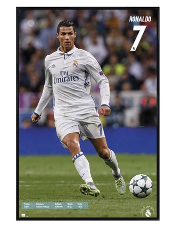 Gloss Black Framed Real Madrid Number 7 - Cristiano Ronaldo
