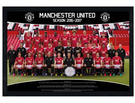 Black Wooden Framed Team Photo 16/17 - Manchester United