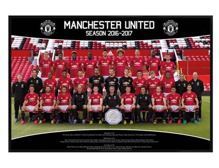 Gloss Black Framed Team Photo 16/17 - Manchester United