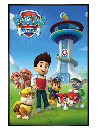 Gloss Black Framed A Team Of Puppies - Paw Patrol