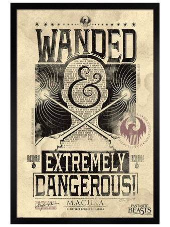 Black Wooden Framed Extremely Dangerous - Fantastic Beasts