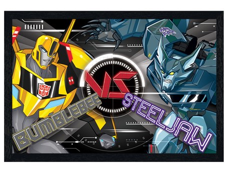 Black Wooden Framed Robots In Disguise BB Vs Steeljaw - Transformers