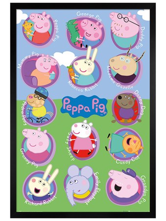Black Wooden Framed Lots Of Friends - Peppa Pig
