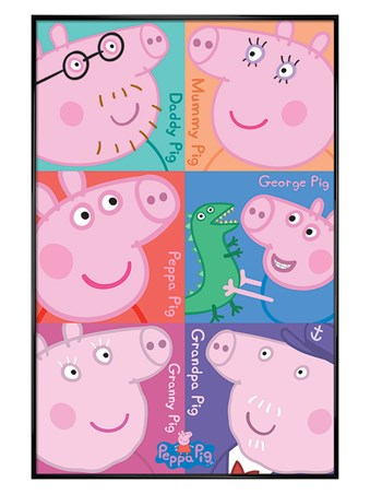 Gloss Black Framed A Family Of Porkers - Peppa Pig