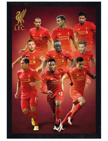 Black Wooden Framed L.F.C Team - Liverpool Players 2016/2017