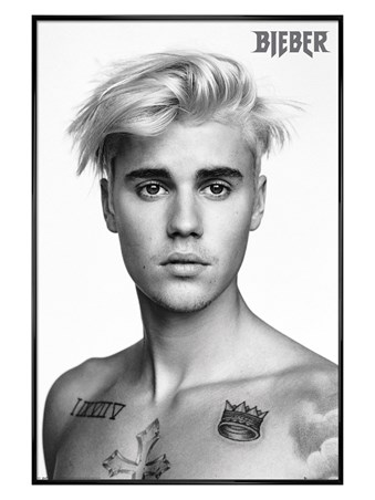 Framed Gloss Black Framed Black And White - Justin Bieber