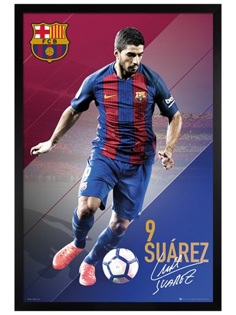 Black Wooden Framed Suarez 16/17 - Barcelona