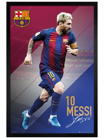 Black Wooden Framed Messi 16/17 - Barcelona