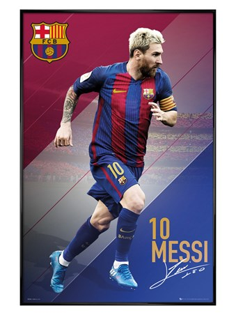 Gloss Black Framed Lionel Messi 16/17 - Barcelona Football Club