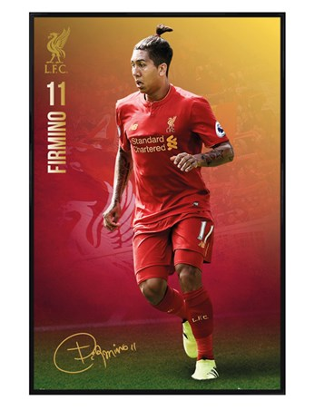 Gloss Black Framed Roberto Firmino 16/17 - Liverpool Football Club