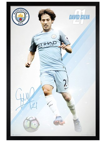 Black Wooden Framed Silva 16/17 - Manchester City