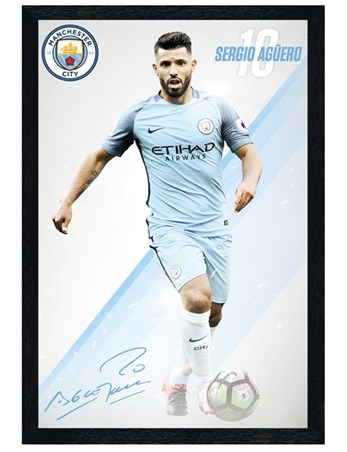Black Wooden Framed Aguero 16/17 - Manchester City