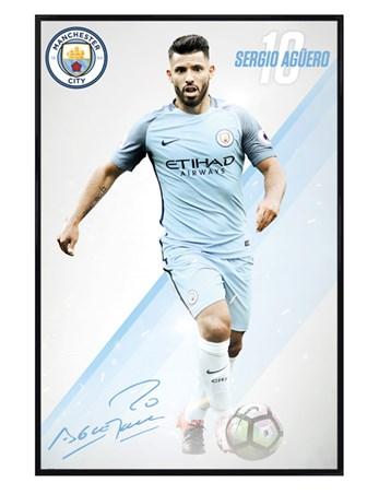 Gloss Black Framed Sergio Aguero 16/17 - Manchester City FC