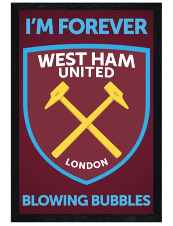 Black Wooden Framed I'm Forever Blowing Bubbles - West Ham Crest