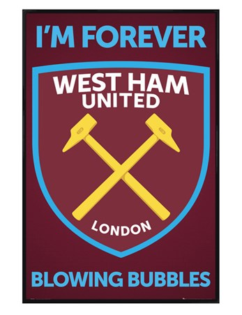 Gloss Black Framed Mighty Hammers - West Ham Crest