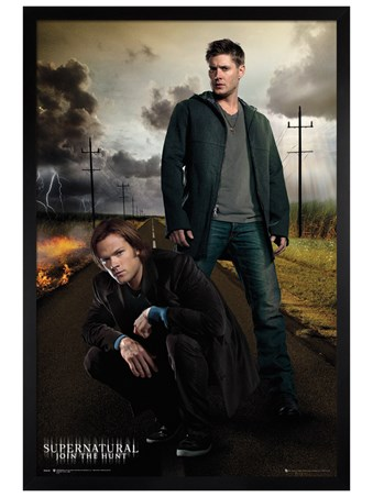 Black Wooden Framed Dean And Sam - Supernatural