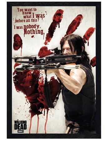 Black Wooden Framed Bloody Hand Daryl - The Walking Dead