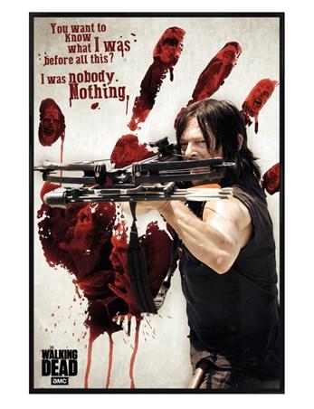 Gloss Black Framed Bloody Hand Daryl - The Walking Dead