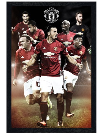 Black Wooden Framed 2016/2017 Players - Manchester United FC
