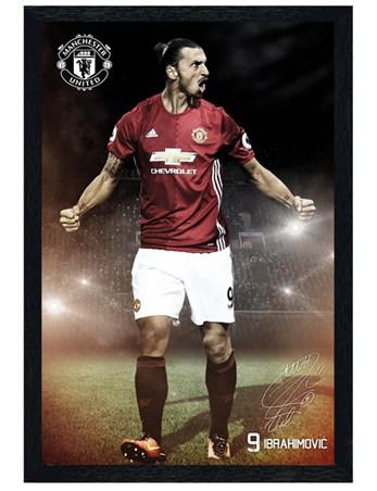 Black Wooden Framed Ibrahimovic 16/17 - Manchester United F.C