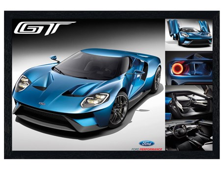 Black Wooden Framed Blue Super Car - Ford GT 2016