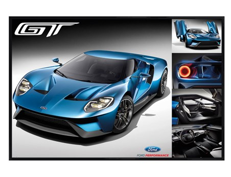 Gloss Black Framed Blue Sports Car - Ford GT 2016