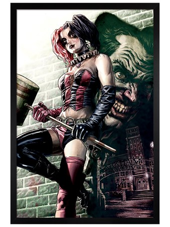 Black Wooden Framed Harley Quinn Pose - Batman