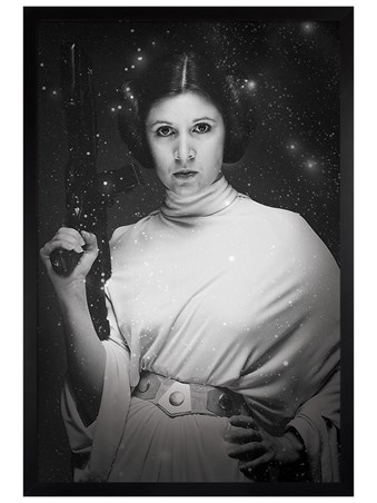 Black Wooden Framed Princess Leia Stars - Star Wars