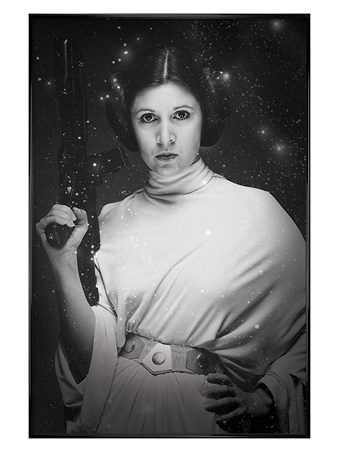 Gloss Black Framed Monochrome Carrie Fisher - Princess Leia