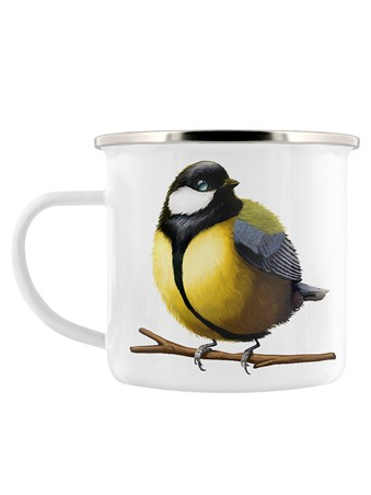British Birds Chubby Great Tit - Enamel Mug